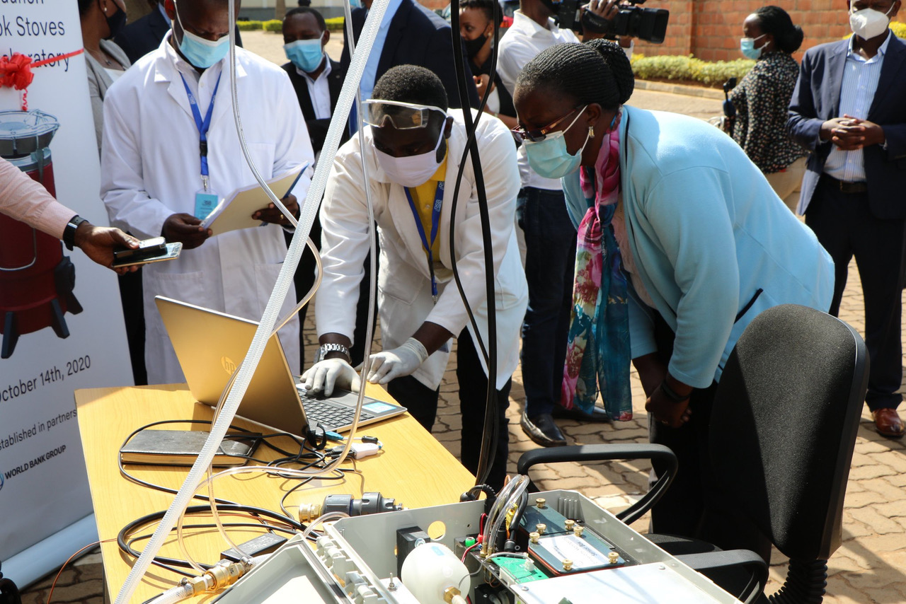 The PEMS is visible here at the launch of the Cook Stove testing lab in Kigali