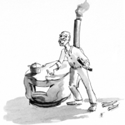 Cartoon of a wood burning stove and the inventor, who looks a lot like the stove.