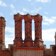 Ornate chimneys at Hampton Court Palace, London