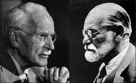 Profile photos of Carl Jung and Sigmund Freud