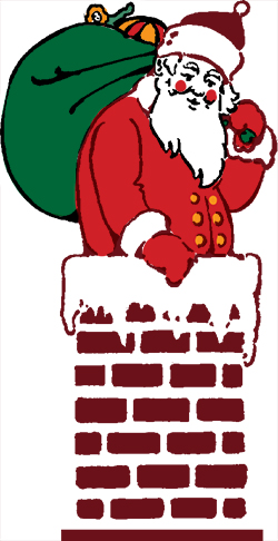 Santa Claus in a chimney