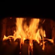 sticks burning in rocket stove