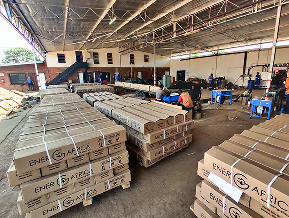 Interior view of EGA Stove factory in Lilongwe, Malawi